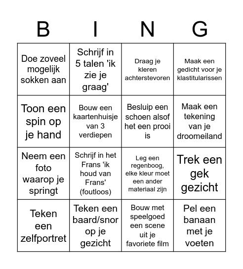 Uitdaging 1ASO Bingo Card