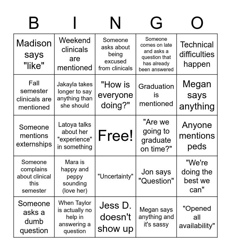 DE 6 Cohort Meeting Bingo Card