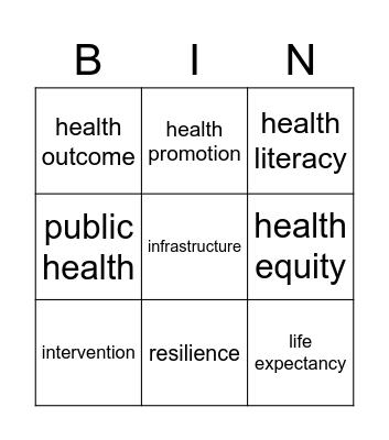 Health Equity Vocabulary Bingo Card