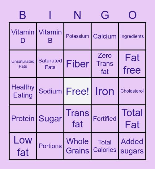 Nutrition Label Bingo! Bingo Card