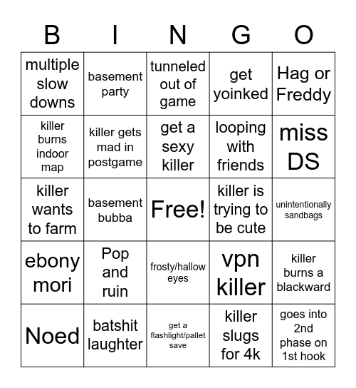 DbD Bingo Card
