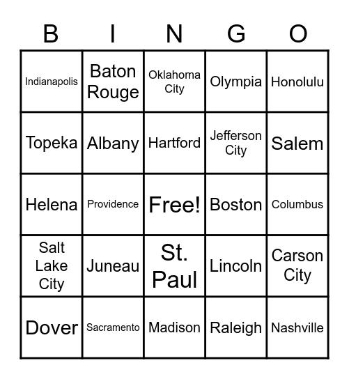State Capitols Bingo Card