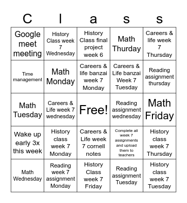 Online school Bingo Card