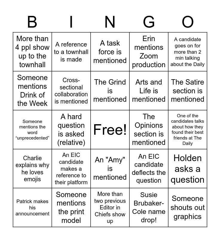 Stanford Daily Grill Session Bingo Card