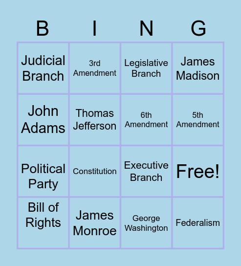 Early U.S. Government Bingo Review Bingo Card