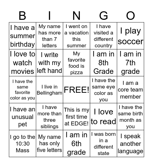 Welcome to EDGE Bingo! Bingo Card