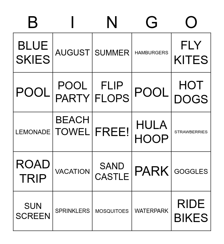 SUMMER Bingo Card