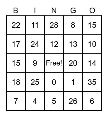 Math! Math! Math! Bingo Card