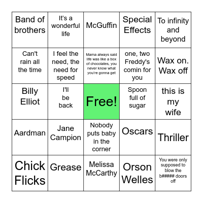 Films/Movies Bingo Card