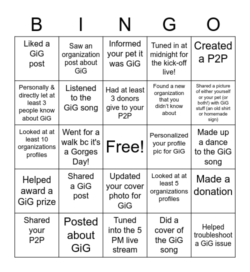 Giving is Gorges Bingo Card