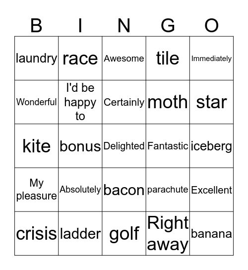 P.I. BINGO - Week 2 Bingo Card