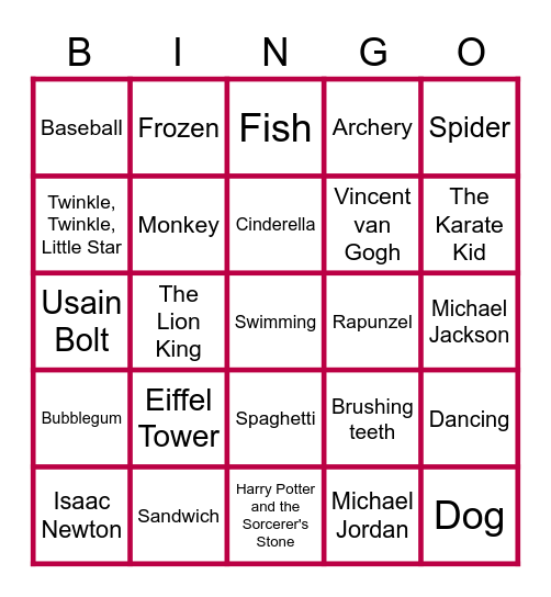 RAJU Bingo Card