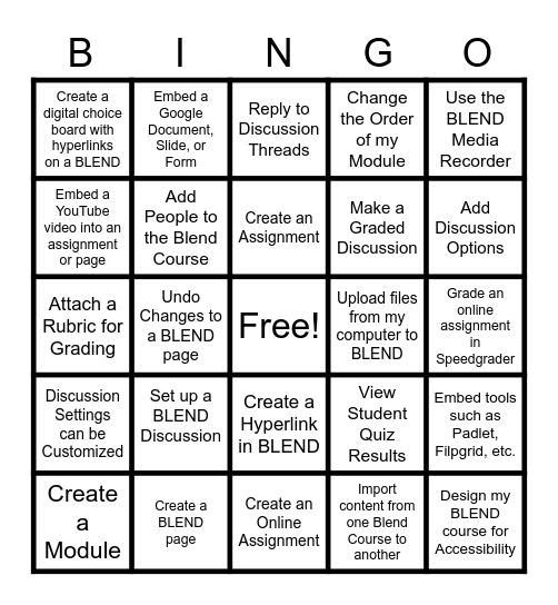 BLENDO Bingo Card