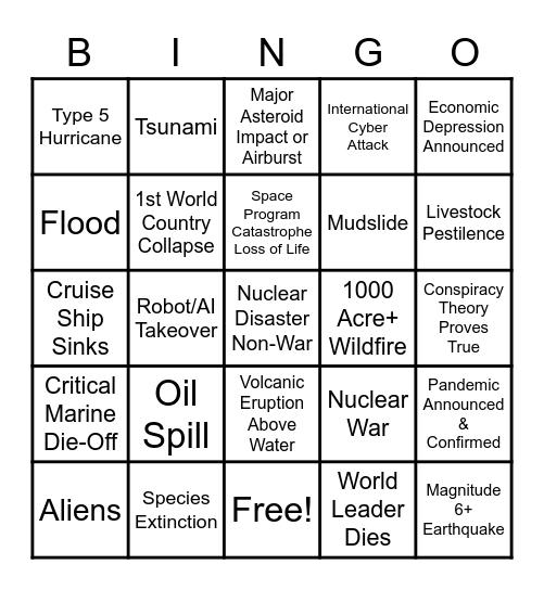 2020 Apocalypse Bingo Card