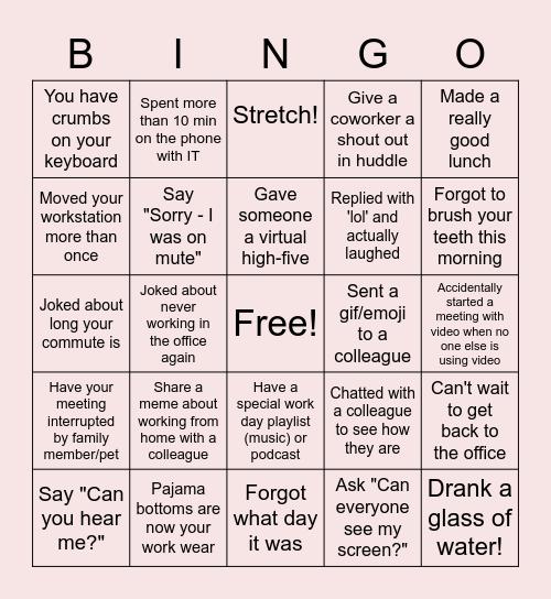 Telework Bingo Card