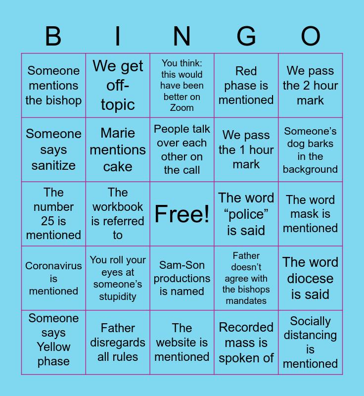 Liturgy- Covid-Bingo Card