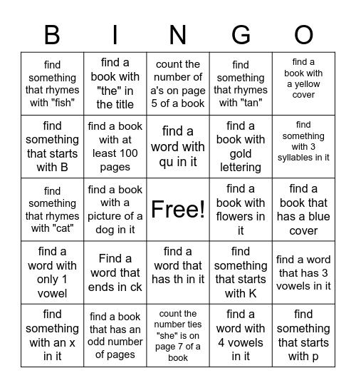 Dyslexia Bingo Card