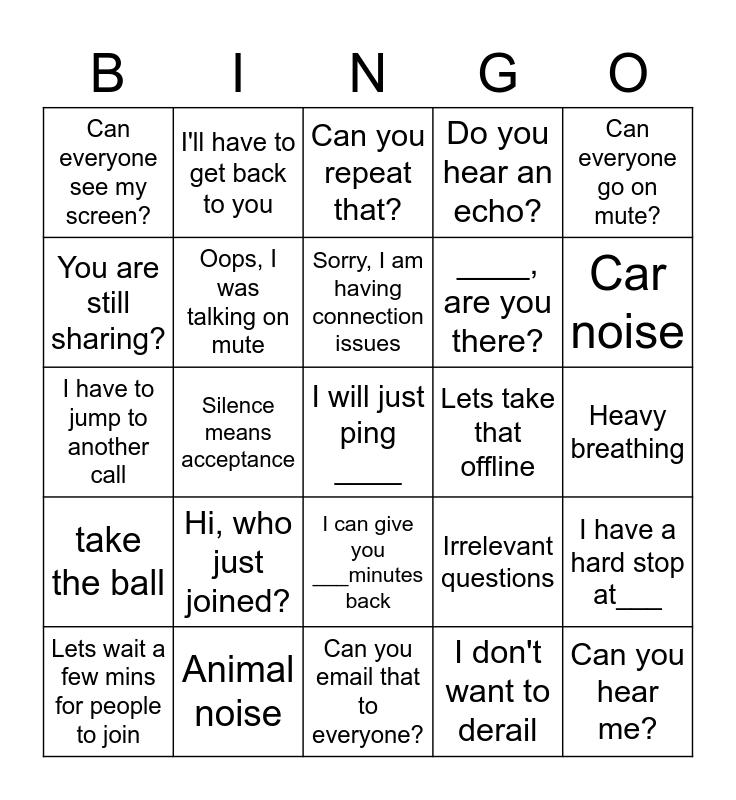 Webex Bingo Card