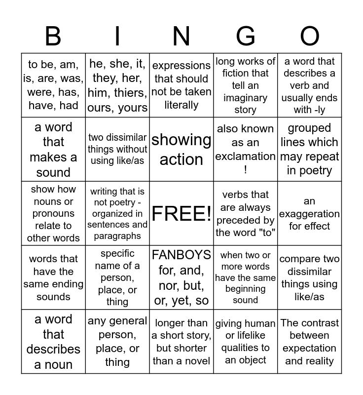 ELA Academic Language Bingo Card