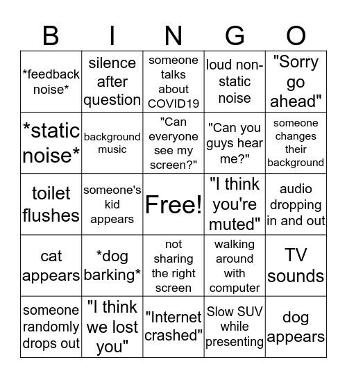 Zoom Bingo Card