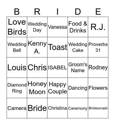 Isabel's Bridal Shower Bingo Card
