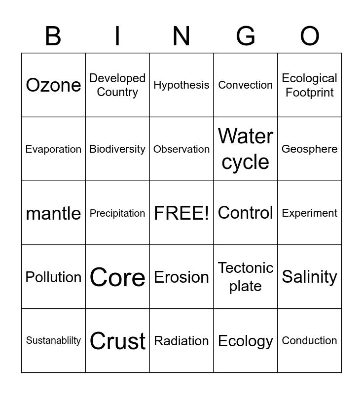 Environmental Science Bingo Card