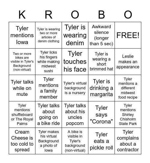 Tyler Krob Bingo Card