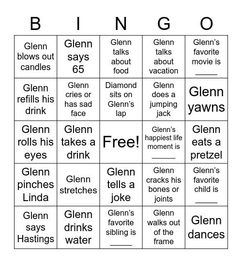 Glenn's 65th Birthday Bingo! Bingo Card