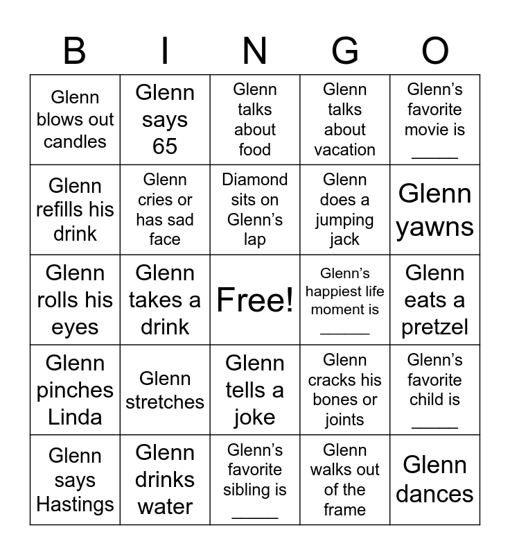 Glenn's 65th Birthday Bingo! Bingo Card