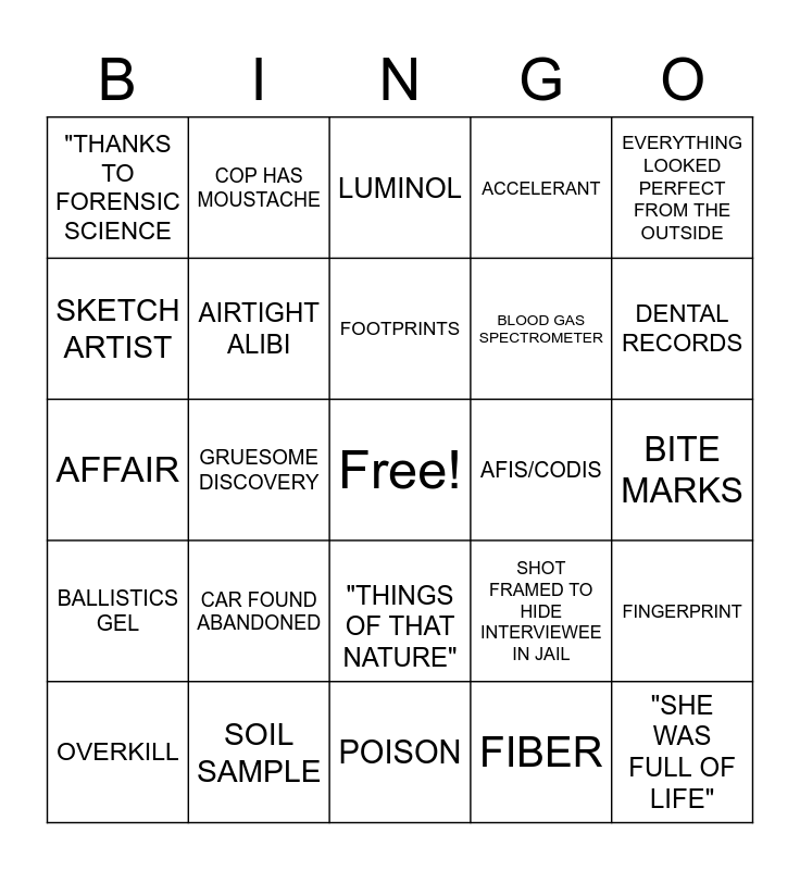 Forensic Files Bingo Card
