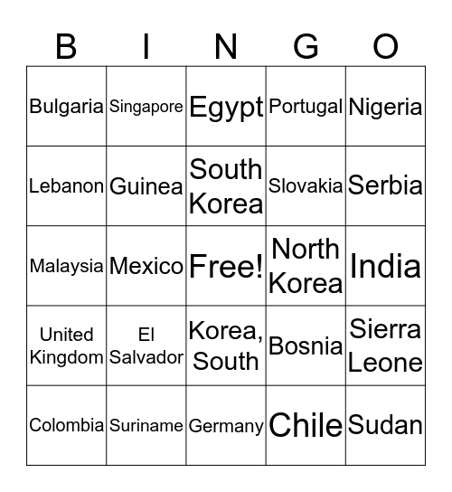 World Countries Bingo Card