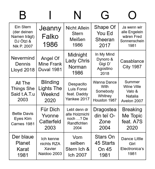 Zwanzig Jahre Bingo Card