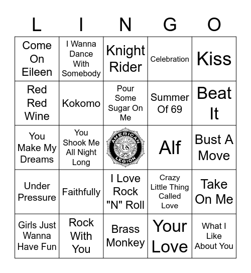 1980's Bingo Card