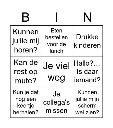 Thuiswerk Video Bel Bingo Card