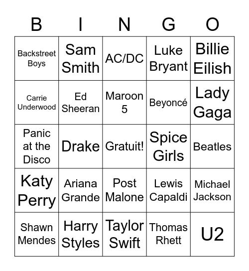 AD 9 - Musiciens Bingo Card