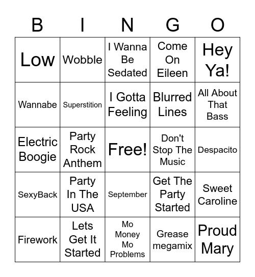 Wedding Reception Playlist Bingo Card