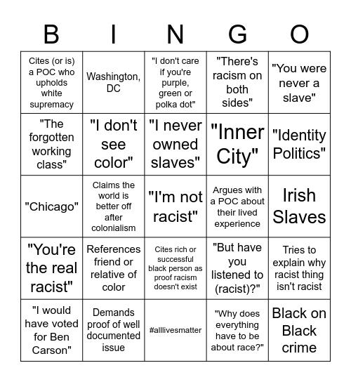 Racist Nonsense BINGO Card