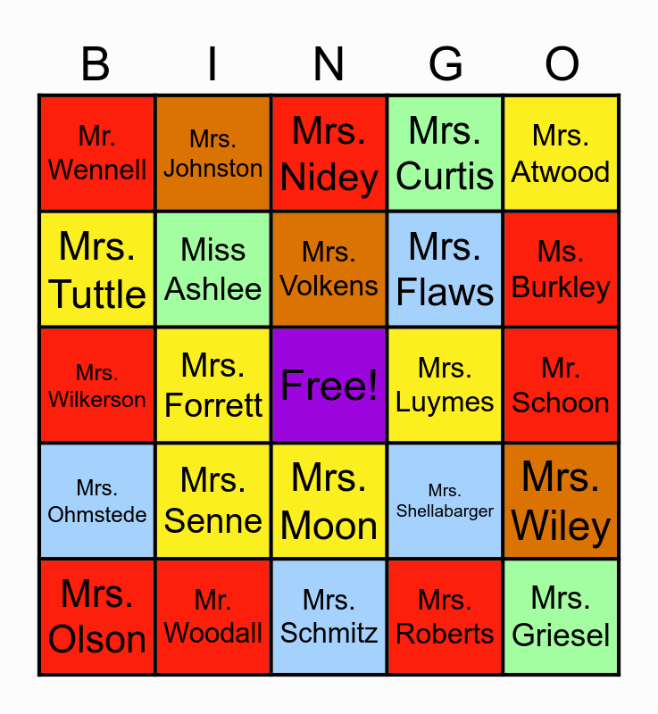 Eason Teachers Bingo Card