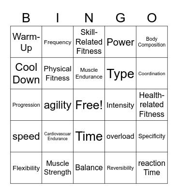Fitness Concepts Bingo Card