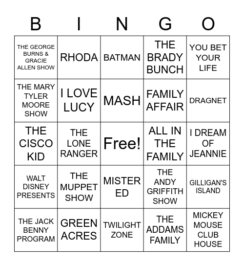 MUSIC BINGO Card