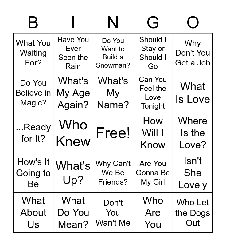 FS Music Bingo - Questions Bingo Card