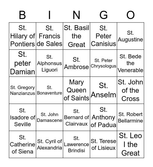 Doctors of the Church Bingo Card
