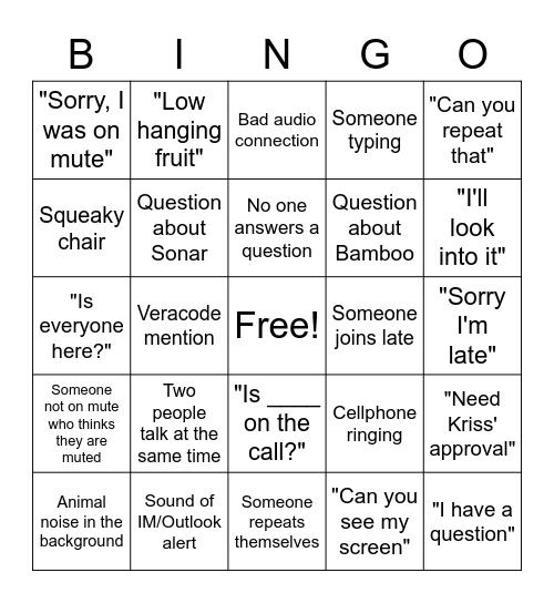 Roundtable Bingo Card