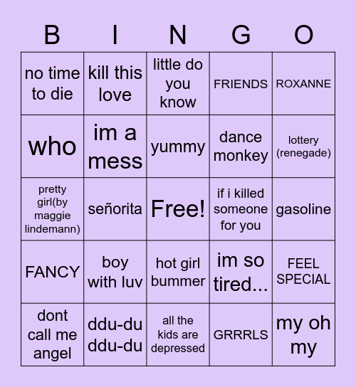 popular songs i luv 2020🥳🎧 Bingo Card