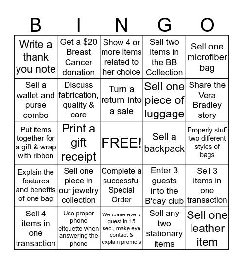 Vera Bingo Card