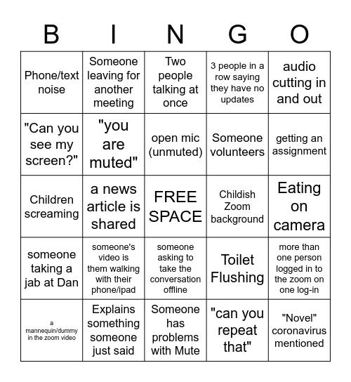 CAPCOT Zoom Bingo Card