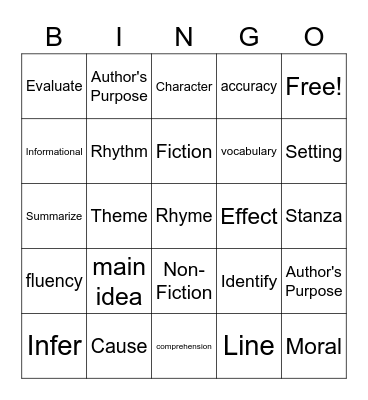 Reading Words! Bingo Card