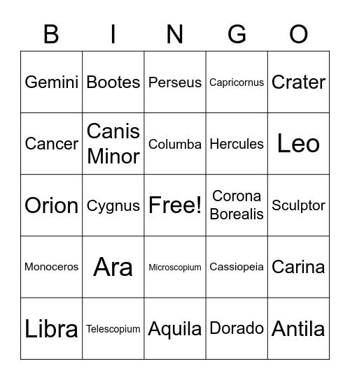 Constellations Bingo Card