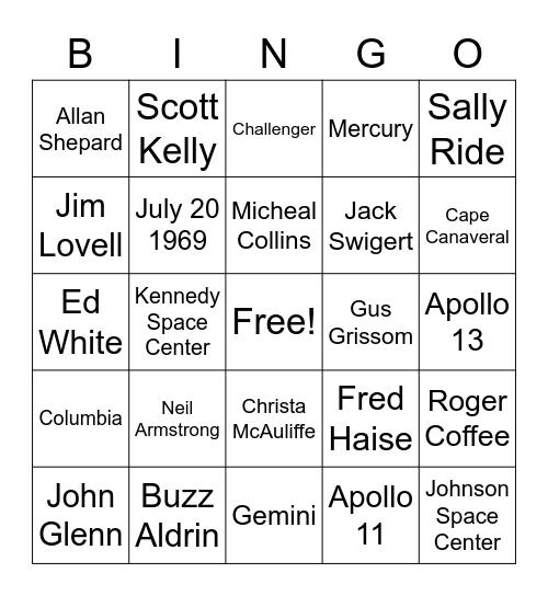 Astronauts Bingo Card