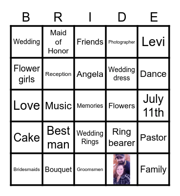 Angela's Bridal Shower Bingo Card